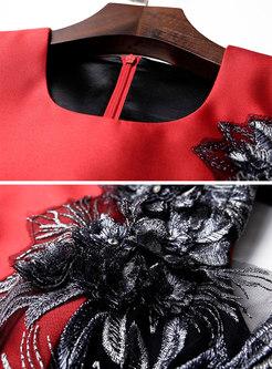 Elegant Stereosocpic Flower Sleeveless Mermaid Dress