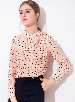 Polka Dot Stand Collar Bowknot Blouse