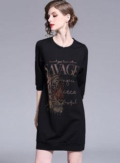 Casual O-neck Tiger Head Print T-shirt Dress