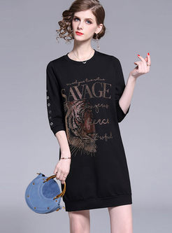 Crew Neck Tiger Head Print T-shirt Dress