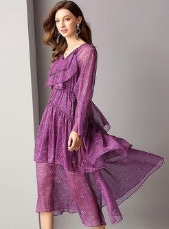 Stylish V-neck High Waist Falbala Skater Dress