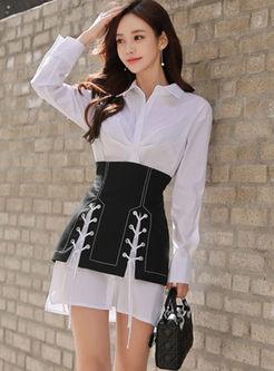 Fashion Lapel Waist Two Piece Outfits