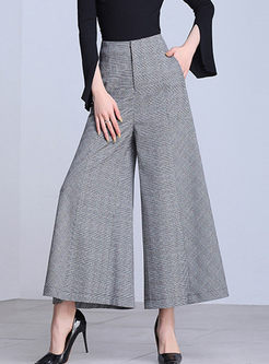 High Waist Plaid Wide Leg Flare Pants