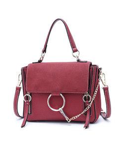 Casual PU Clasp Lock Top Handle & Crossbody Bag