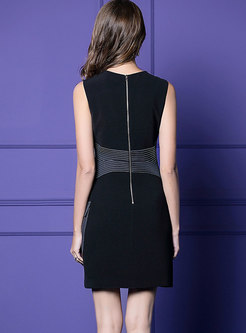Brief Top Stitched Sleeveless Sheath Dress