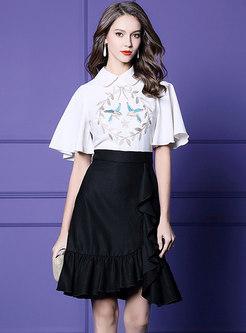 Color-blocked Lapel Embroidered Sheath Falbala Dress