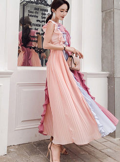 Color-blocked Sleeveless Falbala Chiffon Dress