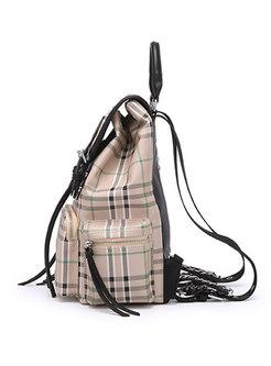 Stylish Plaid PU Zipper Buckle Backpack