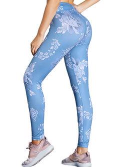 Fashion Blue Print Sheath Yoga Pants