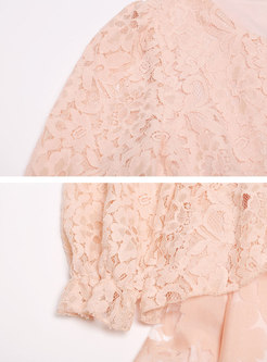 Pink Lace Splicing O-neck Loose Mini Dress