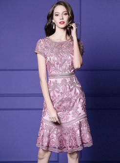 Elegant Embroidered O-neck Slim Falbala Dress