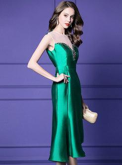 Mesh Splicing Drilling Asymmetric Mermaid Dress