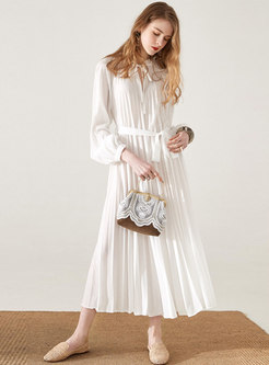 Stylish Tie-collar Belted Pleated Maxi Dress