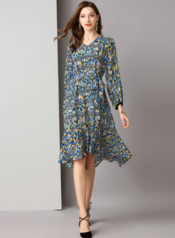 Stylish Print V-neck Slim Mermaid Dress