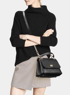 Black Chain Top Cowhide Crossbody Bag & Top Handles