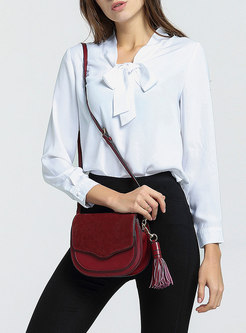 Retro Tassel Cowhide Magnetic Lock Crossbody Bag