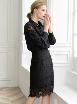 Hollow Out Black Splicing Top & Lace Sheath Skirt