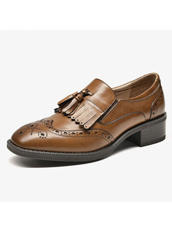 Fashion Tassel Leather Spring Loafers