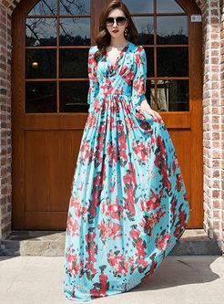 Bohemian Flare Sleeve Print Beach Maxi Dress