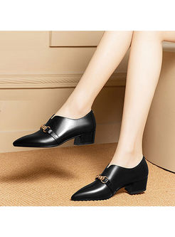 Casual Square Heel Leather Shoes With Metal