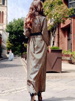 Lapel Single-breasted Striped Maxi Dress