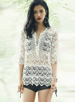 Fashion V-neck Lace Cover-up Swimwear