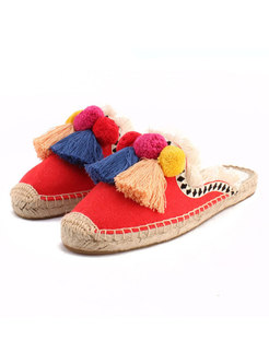 Chic Casual Tassel Patch Breathable Flat Slipers