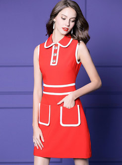 Elegant Color-blocked Lapel High Waist Skater Dress