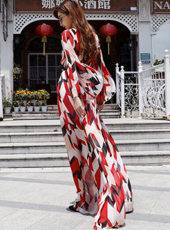 V-neck Geometric Print Big Hem Chiffon Dress