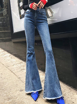 Chic Denim Rough Selvedge Flare Pants