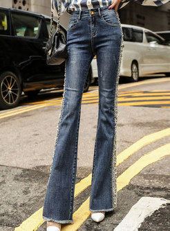 Fashion Denim Drilling High Waist Tassel Flare Pants
