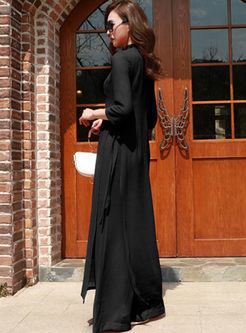 Retro Mandarin Collar Slim Dress & Wide Leg Pants