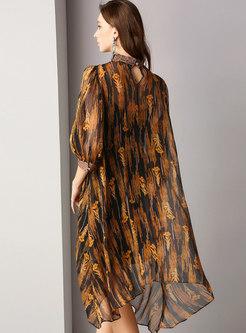Print Stand Collar Asymmetric Shift Dress