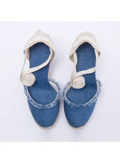 Canvas Rough Selvedge Wedge Heel Sandals