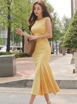 Sexy Solid Color Sleeveless Mermaid Dress