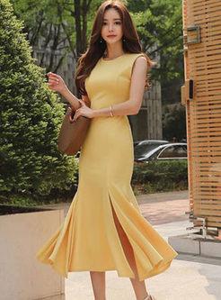 Sexy Solid Color Sleeveless Peplum Dress