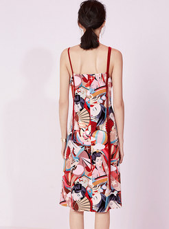 Chiffon Print V-neck High Waist Slip Dress