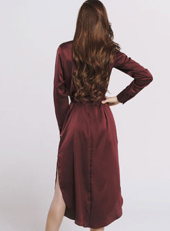 Casual Lapel Long Sleeve Belted Slit Dress