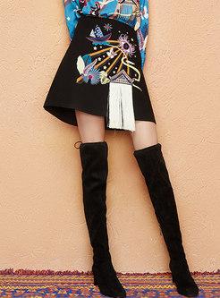Stylish Embroidered Tassel High Waist Mini Skirt