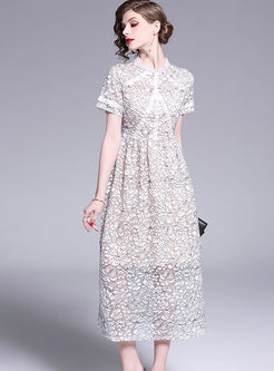 Stylish Short Sleeve Hollow Out Lace Dress