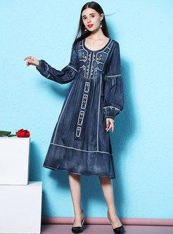 Denim Print Lantern Sleeve Waist Skater Dress