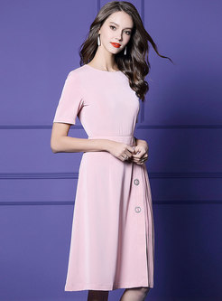 Stylish Pink O-neck High Waist Pleated Dress