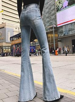 Light Blue High Waist Denim Flare Pants