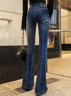 Elegant Denim High Waist Slim Flare Pants
