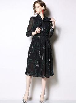 Fashion Bowknot Standing Collar Chiffon Dress