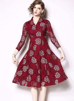 Vintage V-neck Print Lace Big Hem Dress