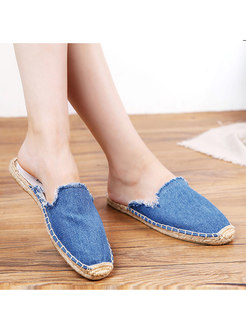 Casual Blue Denim Breathable Flat Slipers
