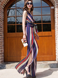 V-neck Sleeveless Striped Palazzo Pant Suits