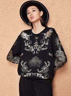 Retro Print O-neck Loose Sweatshirt