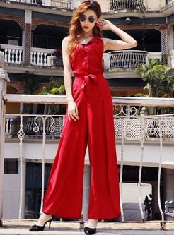 Lapel Bowknot Waist Wide Leg Two Piece Outfits